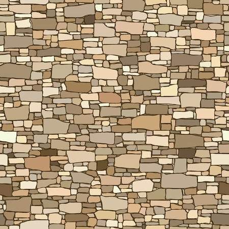 sized: Seamless colored background of stone wall ancient building with different sized bricks.