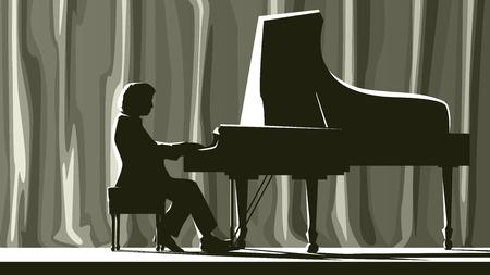 Illustratie van silhouet pianist in de concertzaal in de schijnwerpers.