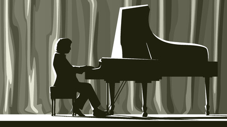 pianista: Ilustración de la silueta pianista en sala de conciertos en el centro de atención. Vectores