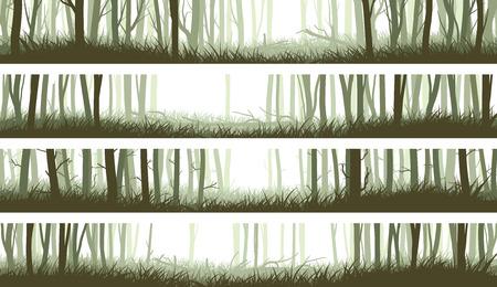 a cedar: Establecer banners horizontales bosque de niebla con la limpieza en maderas y troncos de árboles (tonos verdes).