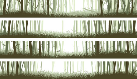 Set horizontal banners misty forest with clearing in woods and trunks of trees (green tone). Stock Illustratie