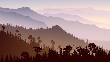 Horizontal illustration morning misty coniferous forest hills in purple tone. Illustration
