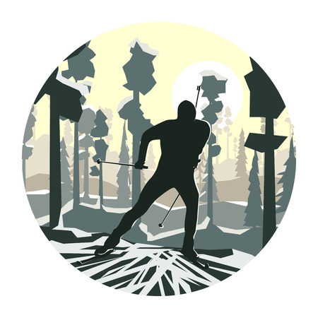 extreme sports: Abstract cartoon round logo of skier in forest. Illustration