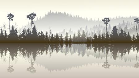 coniferous forest: Ilustración Horizontal mañana colinas brumosas bosque de coníferas con su reflejo en el lago.