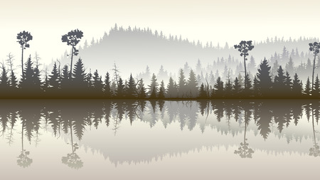 Horizontal illustration morning misty coniferous forest hills with its reflection in lake.