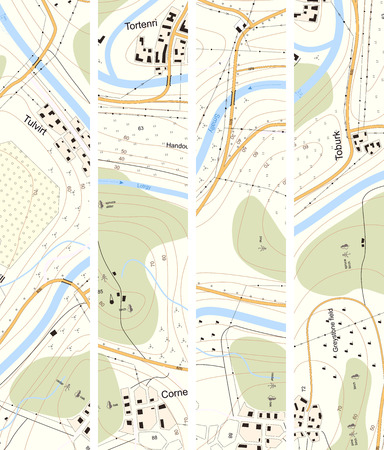 settlements: Set vertical banner of detailed topographic map of territory with rivers, forests, settlements, roads, communication lines with titles. Illustration