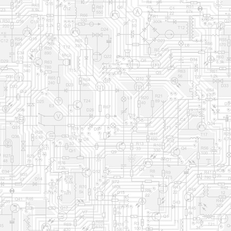 Vector seamless background of electrical circuit of radio device (resistance, transistor, diode, capacitor, inductor) in grey tone. Illustration
