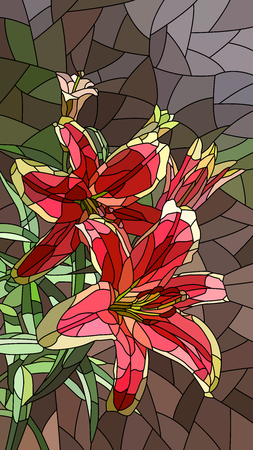 Vector vertical mosaic with large cells of pink lily.