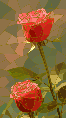 mosaic: Vector vertical mosaic with large cells of red roses.