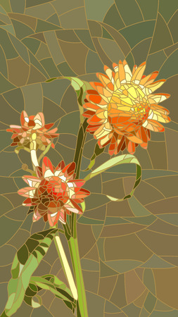 glass windows: Vector vertical mosaic with large cells of yellow Helichrysum.