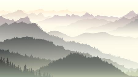 Horizontal illustration morning misty coniferous forest hills in fog.