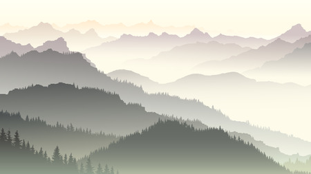 horizon: Horizontal illustration morning misty coniferous forest hills in fog.