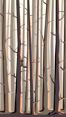 larch: Abstract vector vertical illustration of forest with trees and squirrel on trunk.