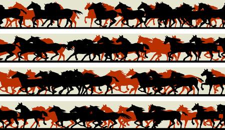 herd: Set of horizontal vector banners prancing galloping horses.