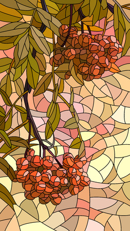 florescence: Vector vertical mosaic with large cells of rowan branch with berries.