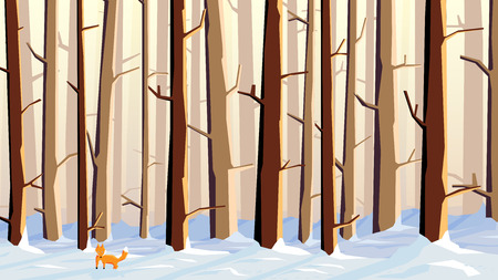 grove: Abstract vector horizontal illustration of snowy forest with trees and fox. Illustration