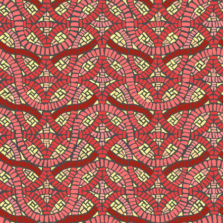 tessellation structure: Seamless colored vector background of decorative weave mosaic. Illustration