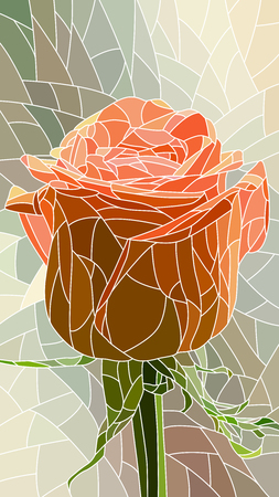 rose bud: vertical mosaic with large cells of red rose.