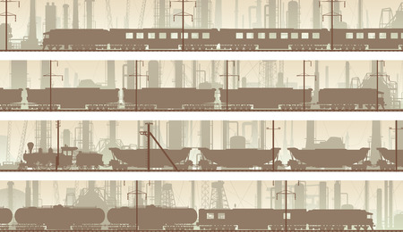 urban area: Set horizontal banners of industrial part of city with train. Illustration