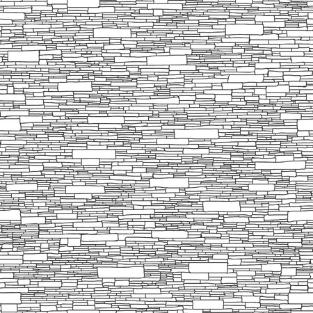 stone wall: Seamless monochrome background of stone wall ancient building with long rectangular bricks (hand drawn).
