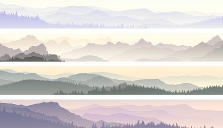 Set horizontal banners of morning misty coniferous forest hills.