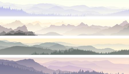 coniferous forest: Establecer banners horizontales de la mañana colinas brumosas bosques de coníferas.