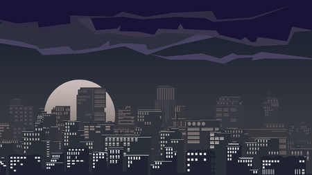 moonlit: illustration of stylized big city with downtown and skyscrapers at moonlit night. Illustration