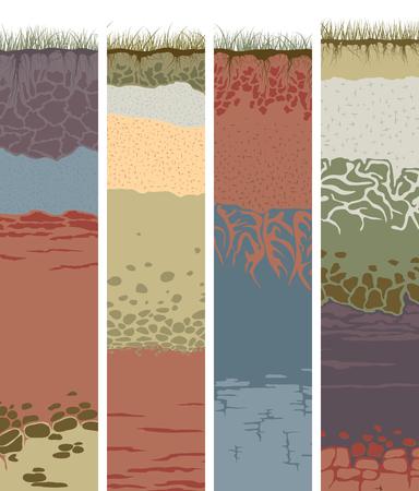 suelo arenoso: Conjunto de vectores banderas verticales con el corte del suelo (perfil) con una hierba, raíces, las capas de la tierra, arcilla y piedras (ilustración vectorial). Vectores