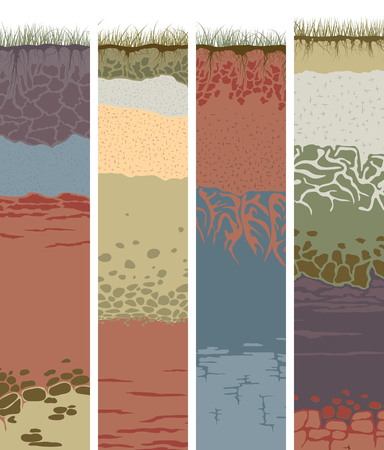 stratigraphy: Set vector vertical banners with cut of soil (profile) with a grass, roots,layers of the earth, clay and stones (Vector illustration). Illustration