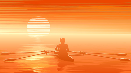 gloaming: Horizontal vector illustration of rowers at sunset ( in orange tone).