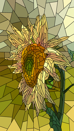 glass windows: Vector vertical mosaic with large cells of yellow sunflower.