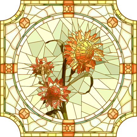 green glasses: Vector mosaic of brightly orange immortelle with buds in round stained-glass window frame. Illustration