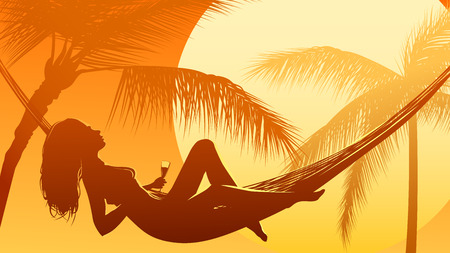 Horizontal vector illustration of palm tree on beach and woman in hammock at sunset. Illustration