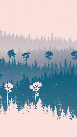Vertical illustration of snowfall at snowy coniferous forest hills. Векторная Иллюстрация