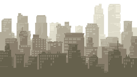 downtown: Horizontal vector illustration of stylized cartoon big city with downtown and skyscrapers.