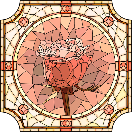 Vector mosaic of brightly pink rose in round stained-glass window frame.