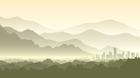 horizontal: Horizontal illustration of morning misty forest and abstract town at foot of hills. Illustration