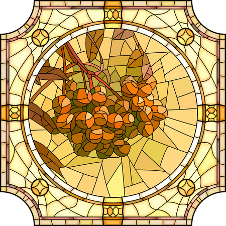 brightly: mosaic of brightly orange rowan branch with berries in round stained-glass window frame. Illustration