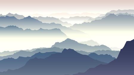 hills: Horizontal illustration morning misty mountains in fog.