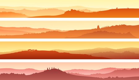 lea: Set of horizontal banners of pastoral landscape of valley with manors at sunset.