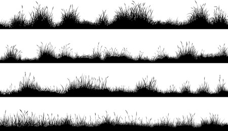 Set of horizontal banners of meadow silhouettes with grass. Vettoriali