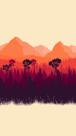 Vertical abstract illustration of mountains and coniferous forest with grass (in red tone). Illustration