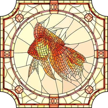 gold fish: Mosaic of gold fish in round stained-glass window frame. Illustration