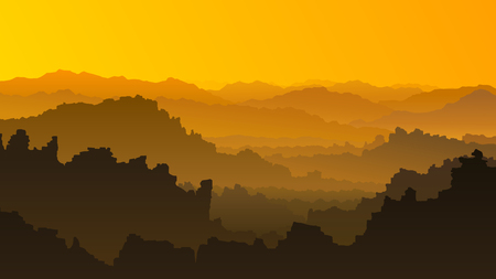 rocky mountains: Horizontal illustration of sunset in rocky mountains (orange tone). Illustration
