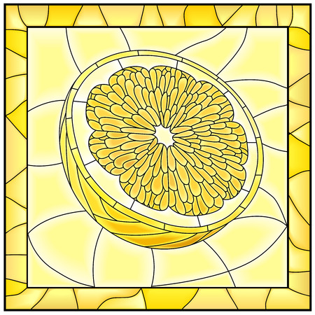 glass windows: Yellow illustration of fruit half of lemon stained glass window with frame.