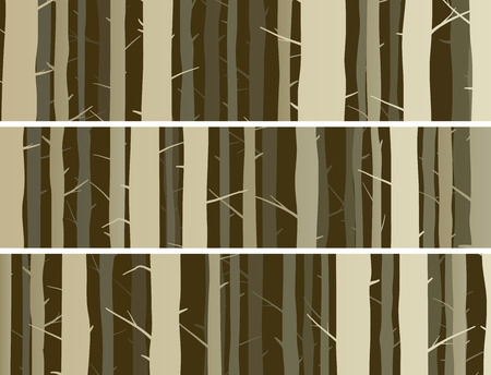 misty forest: Set horizontal banners misty forest with trunks of trees.