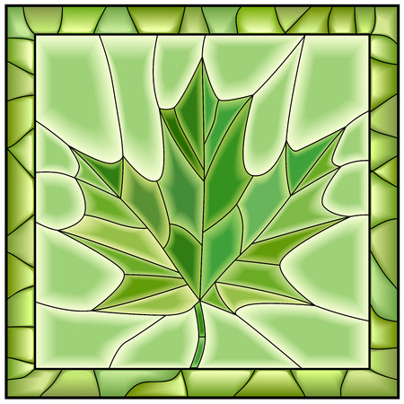 Green illustration of maple leaf from tree stained glass window with frame.