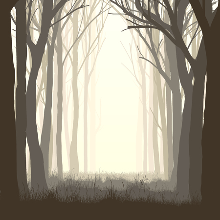 Vector illustration of trees with grass and meadow on edge of forest. Stock Illustratie