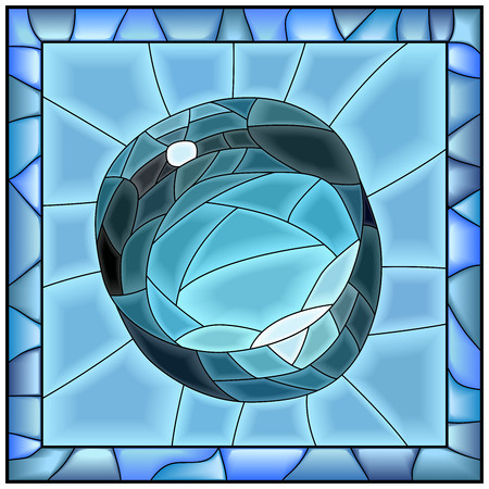 glass windows: Square illustration of blue brilliant drop of water as stained glass window with frame.