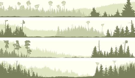 coniferous forest: Vector conjunto de banners horizontales colinas brumosas bosques de coníferas con claros (tono verde).